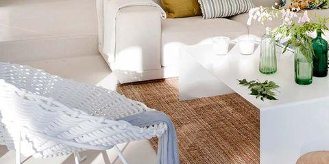 Room, Floor, Interior design, Table, Linens, Flooring, Flowerpot, Home, Home accessories, Grey,
