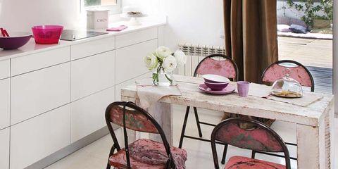 Room, Interior design, Table, Furniture, Pink, Floor, Interior design, Houseplant, Maroon, Home,