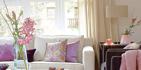 Room, Interior design, Home, Floor, Living room, Purple, Flooring, Pink, Lavender, Interior design,
