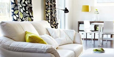 Interior design, Room, Yellow, Green, Living room, Wall, Furniture, Floor, White, Couch,
