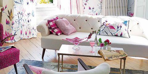 Interior design, Room, Furniture, Home, Living room, Table, Pink, Interior design, Wall, Purple,