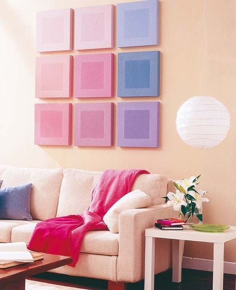 Room, Interior design, Living room, Furniture, Wall, Table, Couch, Pink, Interior design, Purple,