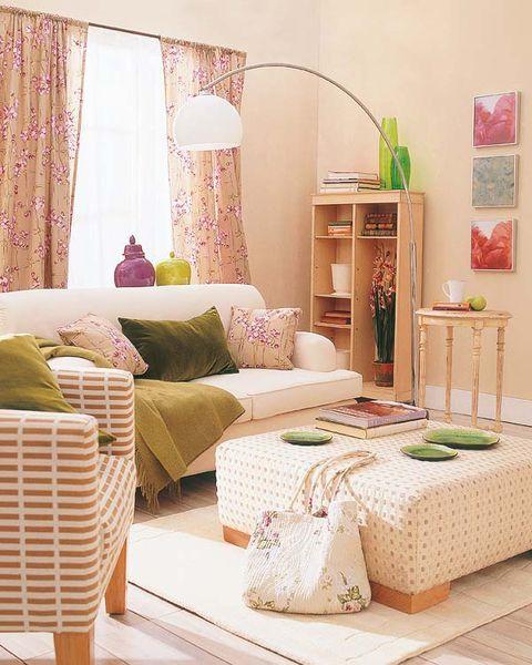 Interior design, Room, Green, Textile, Wall, Floor, Pink, Home, Furniture, Linens,