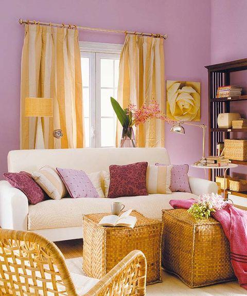 Interior design, Yellow, Room, Purple, Furniture, Interior design, Home, Shelf, Window treatment, Home accessories,