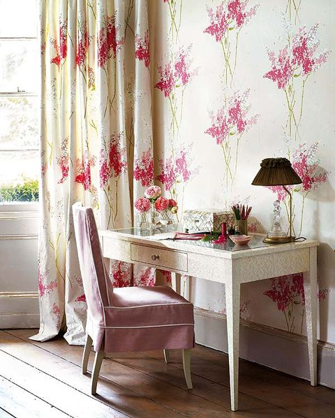 Room, Interior design, Textile, Floor, Pink, Flooring, Table, Furniture, Interior design, Wall,