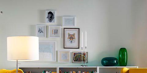Wood, Green, Room, Interior design, Yellow, Floor, Furniture, Flooring, Shelving, Wall,