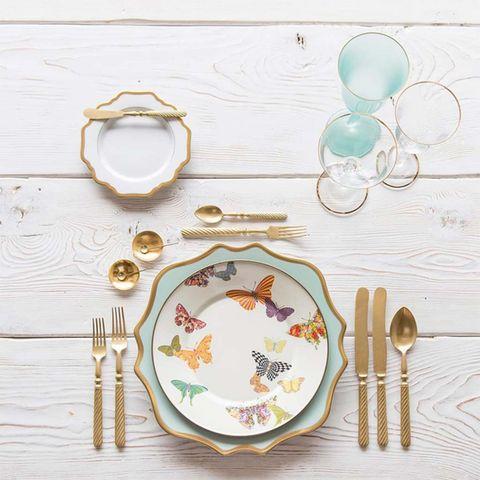 Dishware, Plate, Tableware, Dinnerware set, Table, Textile, Cutlery, Fork, Furniture,
