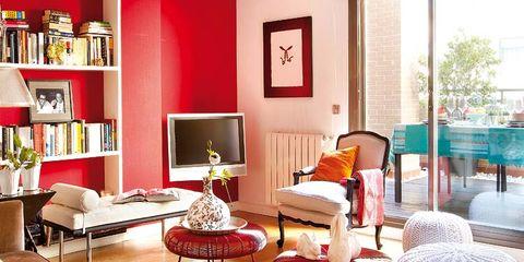 Room, Interior design, Living room, Flooring, Furniture, Floor, Shelf, Table, Wall, Home,