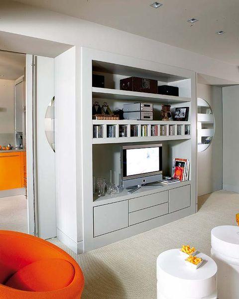 Room, Interior design, Floor, Ceiling, Wall, Orange, Flooring, Cupboard, Major appliance, House,