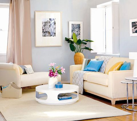 Blue, Room, Interior design, Living room, Home, Furniture, Wall, Floor, Couch, Table,