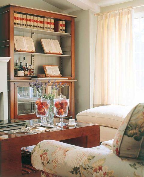 Interior design, Room, Interior design, Shelving, Shelf, Window covering, Curtain, Window treatment, Peach, Home,
