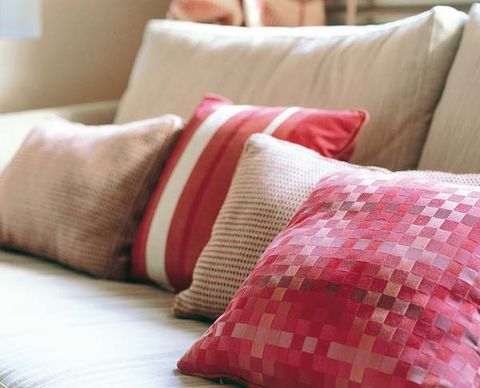 Room, Textile, Red, Cushion, Linens, Pillow, Pink, Interior design, Throw pillow, Orange,