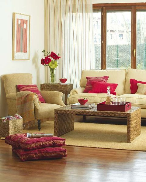 Interior design, Room, Living room, Home, Furniture, Red, Floor, Flooring, Couch, Interior design,