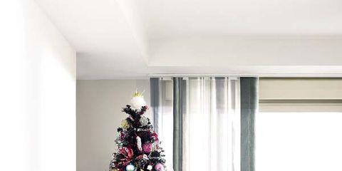 Interior design, Room, Christmas decoration, Christmas tree, Home, Pink, Interior design, Holiday, Christmas ornament, Lavender,