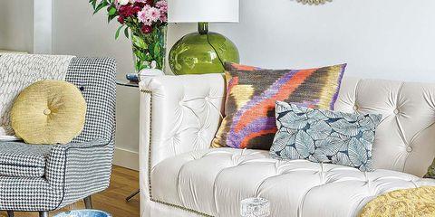 Yellow, Room, Furniture, Interior design, Table, Living room, Interior design, Throw pillow, Pillow, Home,