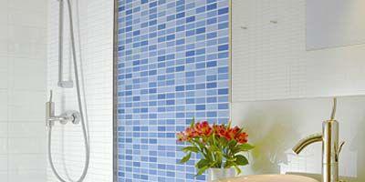 Plumbing fixture, Room, Property, Interior design, Tile, Wall, Tap, Flooring, Glass, Real estate,