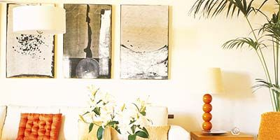 Room, Interior design, Wall, Furniture, Table, Orange, Interior design, Living room, Home, Couch,