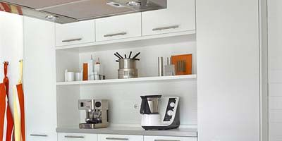 Room, Product, White, Interior design, Shelving, Shelf, Kitchen, Ceiling, Grey, Light fixture,