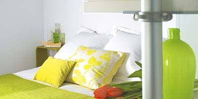 Green, Room, Yellow, Bed, Property, Textile, Wall, Interior design, Bedding, Linens,