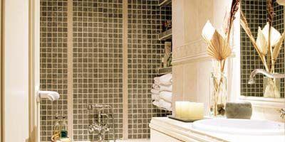 Room, Interior design, Property, Plumbing fixture, Architecture, Tile, Interior design, Tap, Glass, Sink,