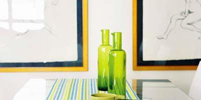 Green, Yellow, Serveware, Tablecloth, Drinkware, Textile, Dishware, Bottle, Glass, Linens,