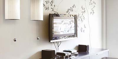Room, Property, Interior design, Display device, Wall, Flat panel display, Publication, Television accessory, Interior design, Television set,