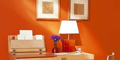Room, Table, Furniture, Interior design, Picture frame, Desk, Orange, Rectangle, Lamp, Lampshade,