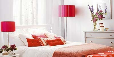 Bed, Room, Interior design, Product, Bedding, Floor, Property, Furniture, Red, Wall,