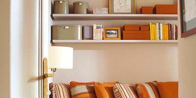 Room, Wood, Property, Interior design, Wall, Orange, Shelving, Shelf, Linens, Bedding,