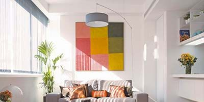 Room, Interior design, Floor, Property, Wall, Orange, Flooring, Flowerpot, Ceiling, Home,
