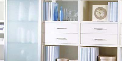 Blue, Room, Wall, White, Shelving, Cabinetry, Shelf, Drawer, Aqua, Teal,
