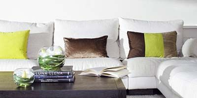 Room, Green, Furniture, Living room, Interior design, White, Couch, Table, Wall, Pillow,