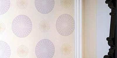 Wall, Ceiling, Interior design, Pattern, Molding, Lavender, Beige, Paint, Plaster, Peach,