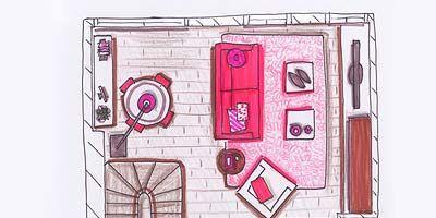 Pink, Magenta, Line, Artwork, Parallel, Rectangle, Illustration, Drawing, Painting, Sketch,