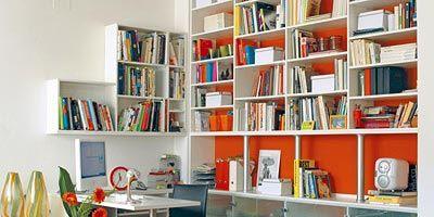 Room, Shelf, Interior design, Shelving, Property, Bookcase, Publication, Orange, Wall, Furniture,