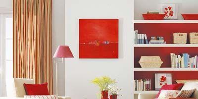 Room, Interior design, Red, Home, Wall, Textile, Furniture, Shelf, Interior design, Living room,