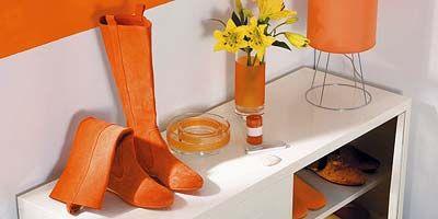 Product, Orange, Flowerpot, Tan, Shelving, Boot, Peach, Bouquet, Still life photography, Shelf,