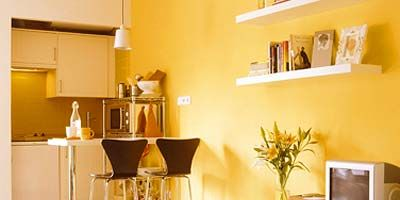 Room, Yellow, Interior design, Floor, Furniture, Interior design, Flooring, Home, Display device, Flat panel display,
