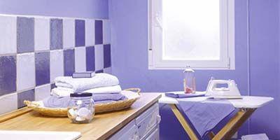 Room, Property, Interior design, Floor, Wall, Plumbing fixture, Cabinetry, Sink, Tap, Purple,