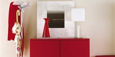 Red, Room, Wall, Clothes hanger, Maroon, Interior design, Rectangle, Material property, Coquelicot, Cabinetry,