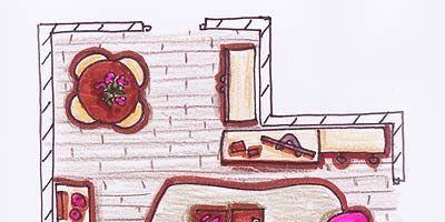 Pink, Line, Purple, Magenta, Art, House, Artwork, Violet, Illustration, Rectangle,