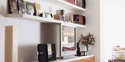 Room, Interior design, Wall, Interior design, Home, Shelf, Display device, House, Shelving, Cabinetry,