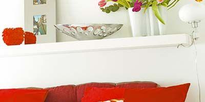 Room, Interior design, Orange, Red, Wall, Textile, White, Home, Living room, Interior design,