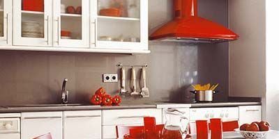Room, Red, White, Table, Orange, Furniture, Kitchen, Interior design, Home appliance, House,