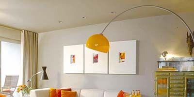 Room, Interior design, Yellow, Product, Property, Orange, Floor, Wall, Ceiling, Light fixture,