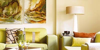 Room, Interior design, Yellow, Wall, Living room, Lamp, Furniture, Home, Couch, Floor,