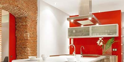 Room, Interior design, Property, Floor, Red, Plumbing fixture, Wall, Interior design, Cabinetry, Ceiling,