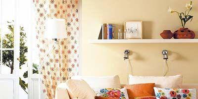 Room, Interior design, Textile, Wall, Home, Orange, Furniture, Interior design, Teal, Living room,