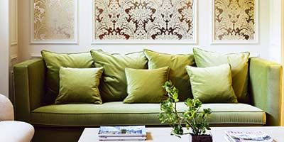 Room, Interior design, Green, Yellow, Living room, Wall, Furniture, Home, Table, Couch,