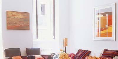 Room, Interior design, Wood, Property, Wall, Living room, Furniture, Orange, Table, Floor,